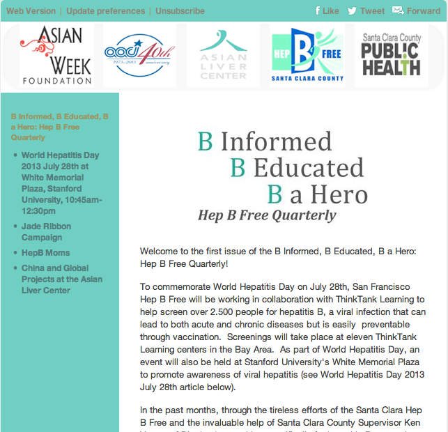 Hep B Free Quarterly Newsletter